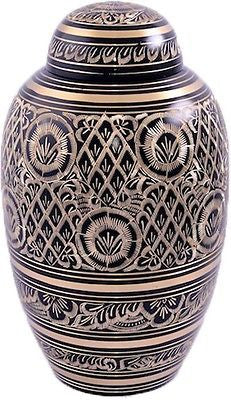 Black Engraved Adult Cremation Urn