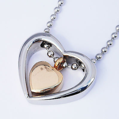 "Cremation Ashes Jewellery Keepsake Necklace Urn ""Gold & Silver Hearts"""