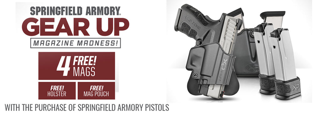 Springfield Gear Up promotion with 4 free mags, free holster, and free mag pouch