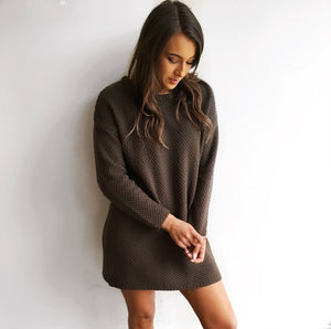 Knit Sweater Dress in Olive