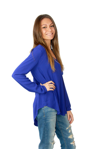 Lush Blouse in Royal - Shopatflirt  - 1