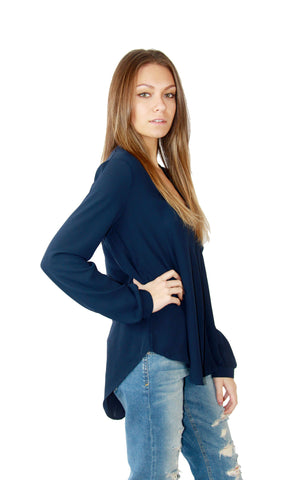 Lush Blouse in Navy - Shopatflirt  - 1
