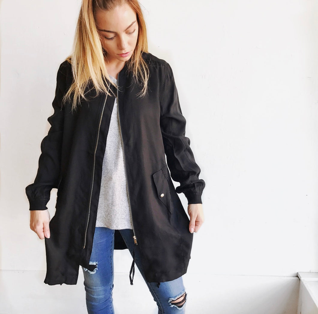 Long Silky Bomber Jacket in Black