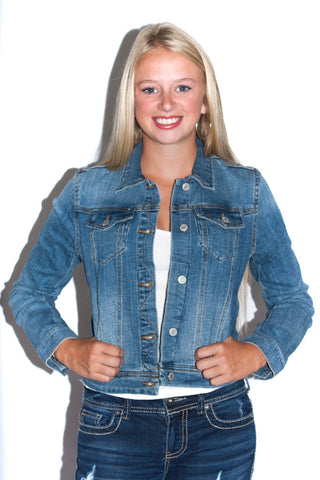 Denim Jacket in Sanded Denim - Shopatflirt  - 1