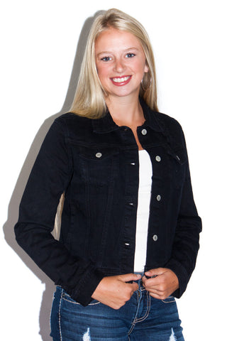 Rustic Denim Jacket in Black - Shopatflirt