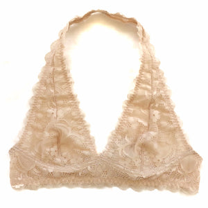 Lace Halter Bralette in Blush - Shopatflirt