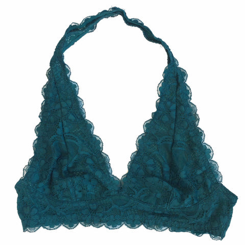 Lace Halter Bralette in Teal - Shopatflirt