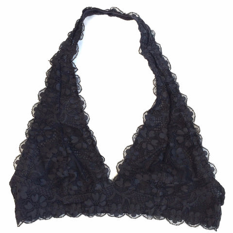 Lace Halter Bralette in Charcoal - Shopatflirt