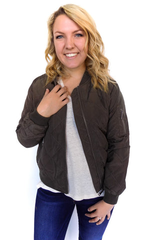 Quilted Bomber Jacket in Olive - Shopatflirt  - 1