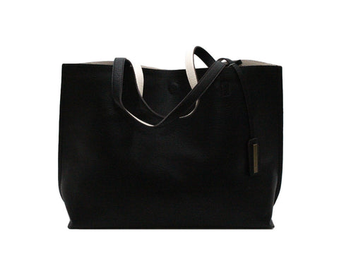 Reversible Tote in Black/Ivory - Shopatflirt  - 1