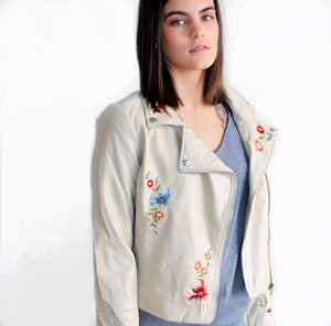 Embroidered Vegan Leather Jacket