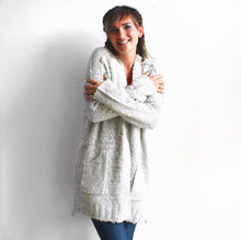 3 Button Open Knit Cardigan in Oatmeal