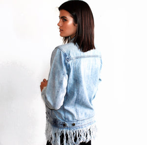 Whiplash Denim Fringe Jacket in Light Blue
