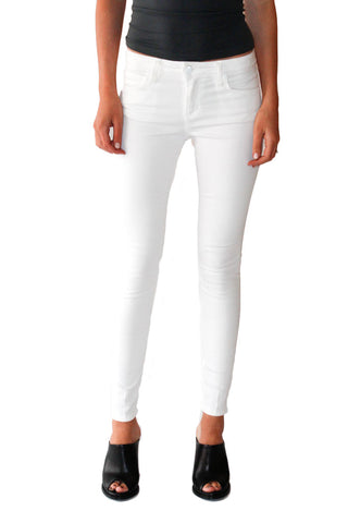 Icon Mid-Rise Skinny Ankle Jean in White - Shopatflirt  - 1
