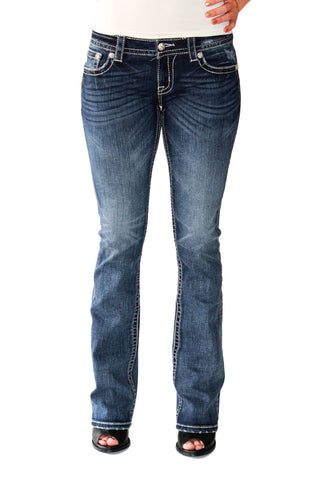 Signature Boot Cut-Crystal Pocket in Medium Wash - Shopatflirt  - 1