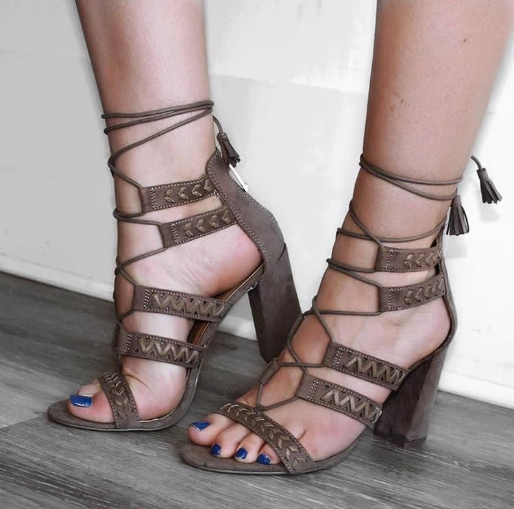 Myra Strappy Heel in Taupe