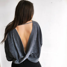 Open Back Burnout Top in Charcoal