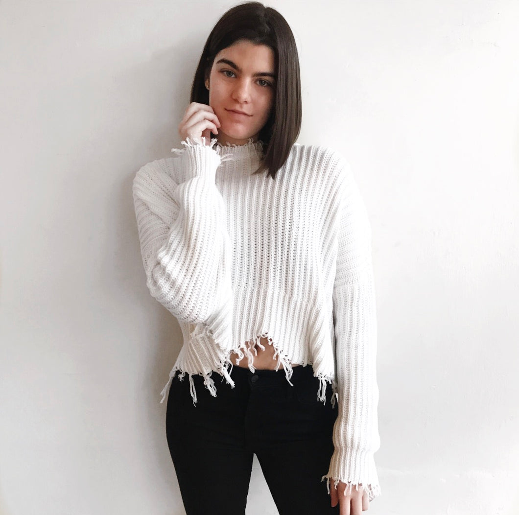 Scallop Sweater in White
