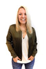 Satin Bomber Jacket in Olive - Shopatflirt  - 1