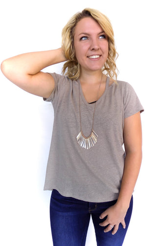 Cut Out Shoulder Tee in Moon Rock - Shopatflirt  - 1