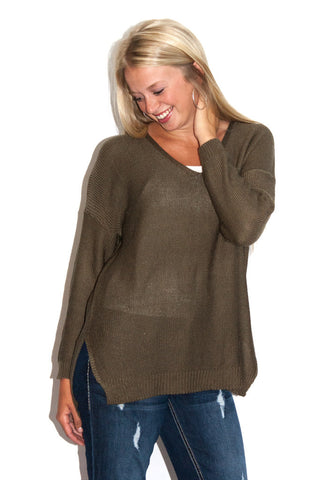Keep it Simple Sweater in Olive - Shopatflirt  - 1