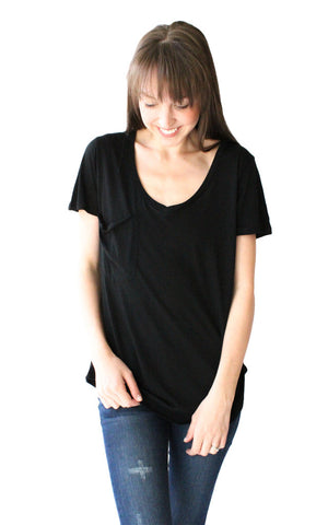 Vintage Pocket Tee in Black Modal - Shopatflirt  - 1