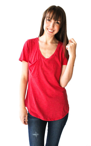 Vintage Pocket Tee in Jester Red - Shopatflirt  - 1