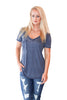 Vintage Washed Pocket Tee in Blue Iris - Shopatflirt  - 1