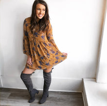 Fall Floral Dress in Mustard