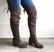 Heartbeat Over the Knee High Boots in Grey