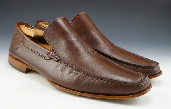 Baccaglini Mens Shoes Size 45, US 12 Leather Slip On Loafers Brown Pre-owned
