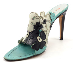 Miu Miu Women's Shoes Size 40, 9.5 US Floral Overlay High Heels Turquoise, Black