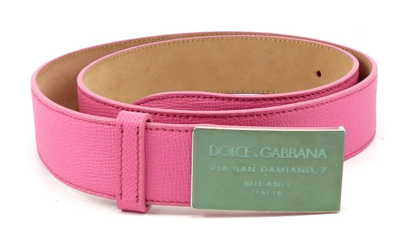 Dolce & Gabbana New Men's Belt 36 / 90 Logo Plate Buckle Leather Strap Pink
