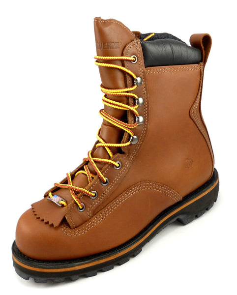 "Wolverine New Mens Size 7 E US Northman 8"" Steel Toe Leather Boots Brown"