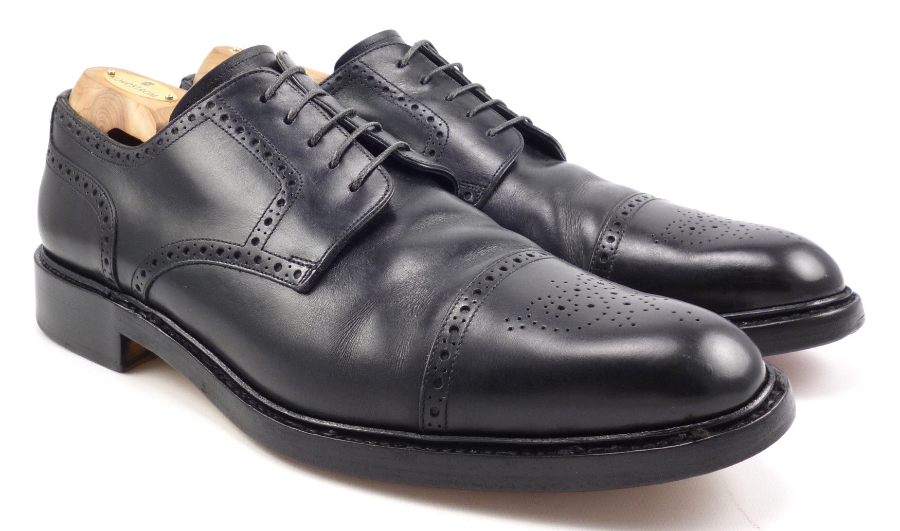 Santoni Mens Shoes 11.5 Leather Cap Toe Lace Up Oxfords Black