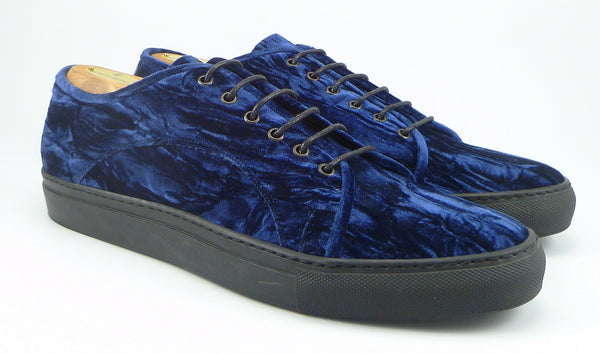Stubbs & Wootton New Mens Shoes 10.5 Crushed Velvet Sneakers 3461 Blue
