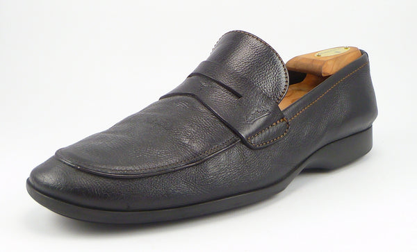Louis Vuitton Mens Shoes Size 10, 11 US Tumbled Leather Strap Loafers Black Pre-owned