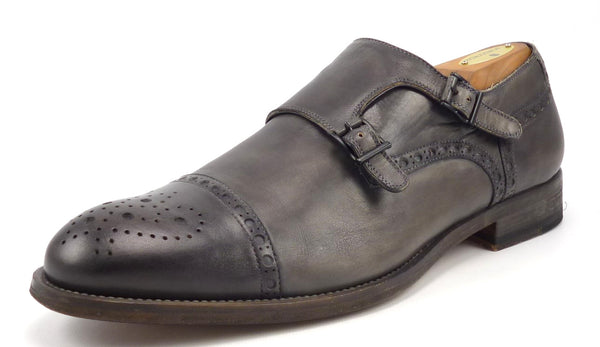 Magnanni sz 10.5 Paco Double Monk Strap Oxfords 14329 Mens Gray fits US 10.5