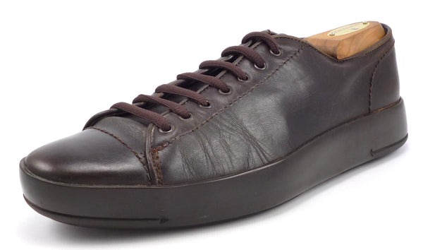PRADA sz 6.5 LEATHER LOW CUT SNEAKER 2E0637 MENS BROWN fits US 7.5 $425