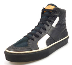 Louis Vuittons Mens Shoes 8, 9 US Monogram Leather Lace Up Sneakers Black
