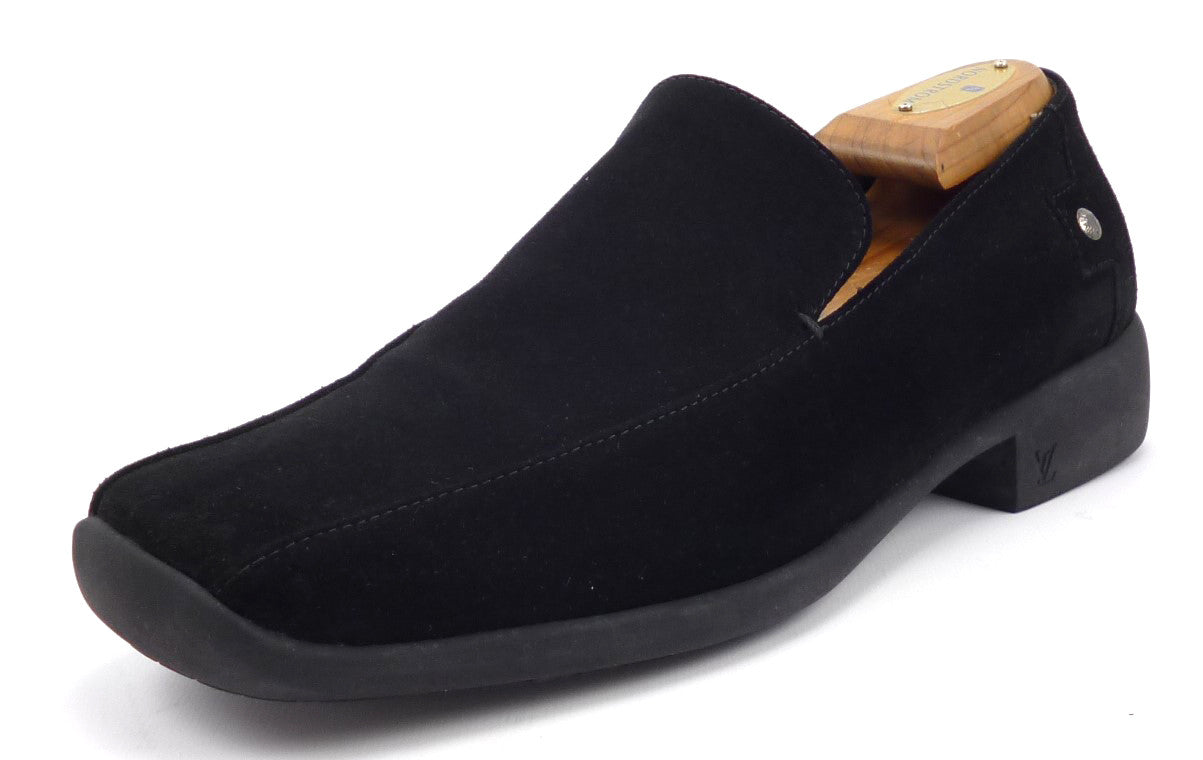 3449272c6fff Louis Vuitton Mens Shoe 8 US Suede Slip On Loafer Black ...