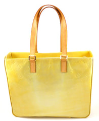 Louis Vuitton Authentic Vernis Columbus Monogram ShoulderTote Bag Yellow