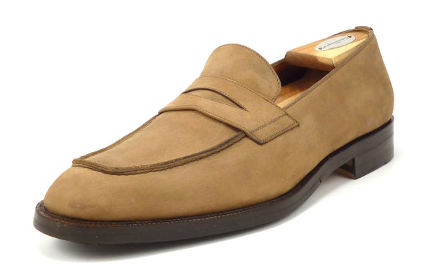 Salvatore Ferragamo Men's 8 US Nubuck Leather Strap Loafers Brown Pre-owned