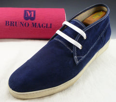 Bruno Magli Men's Shoes 12 US Ebono Suede Lace Up Ankle Boots Blue Pre-owned