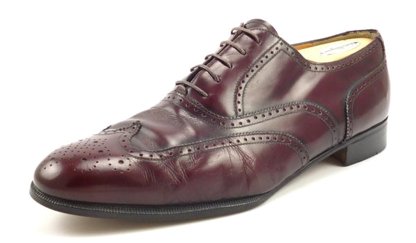 Salvatore Ferragamo Mens Shoes Size 9.5 EE Sondrio Wingtip Oxfords Burgundy