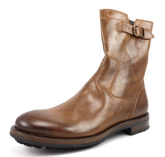 Ruffa Men's Leather Zip Up Boots Size 11 Brown