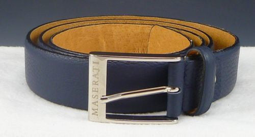 Maserati Ferrari Mens Belt 46, 115 Rectangle Buckle & Tumbled Leather Strap Blue