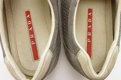 PRADA sz 7.5 PERFORATED SUEDE SNEAKERS 4E2335 MENS GRAY fits US 8.5 $395