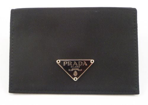 Prada Tessuto Nylon Logo Plate Card Case Black