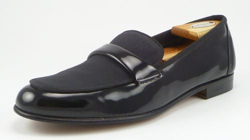 Salvatore Ferragamo Mens Shoes Size 9 B US Dean Patent Leather Loafers Black Pre-owned